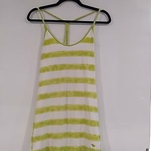 A&F• white with lime stripes with rope strap top